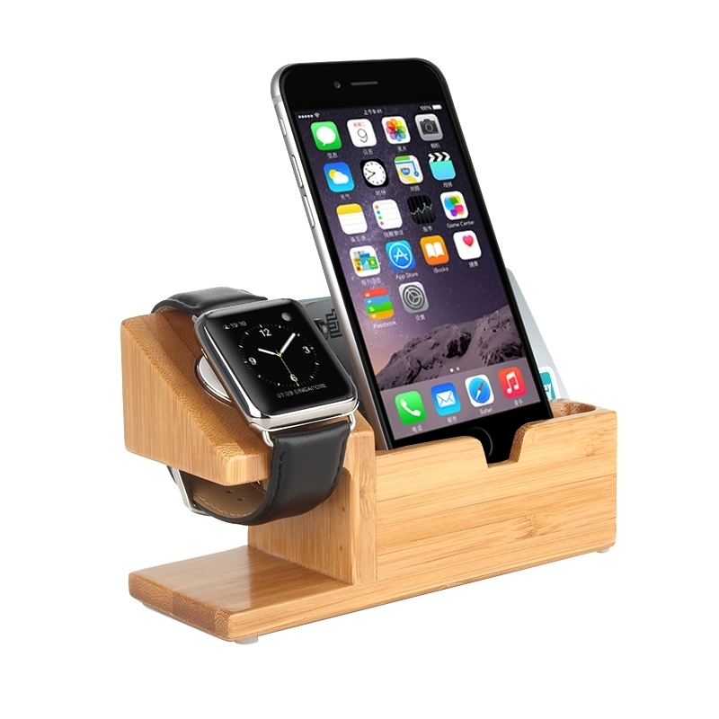 bamboo wooden desk stand usb charger apple watch iphone. Black Bedroom Furniture Sets. Home Design Ideas
