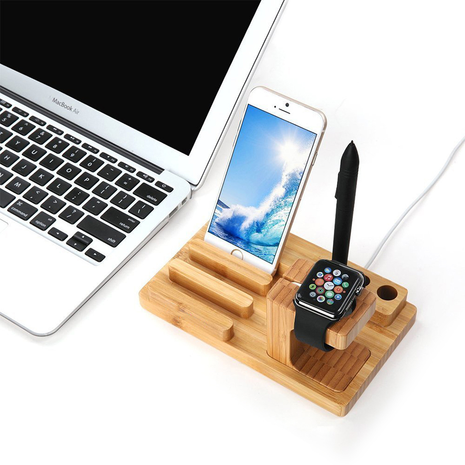 com for dock desk amazon charging bamboo in iphone station stand pin wood holder wooden