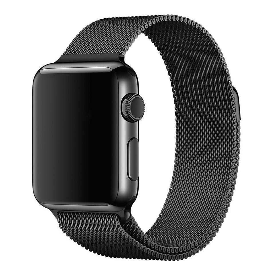 Black Milanese Loop Stainless Steel Band - Apple Watch 42