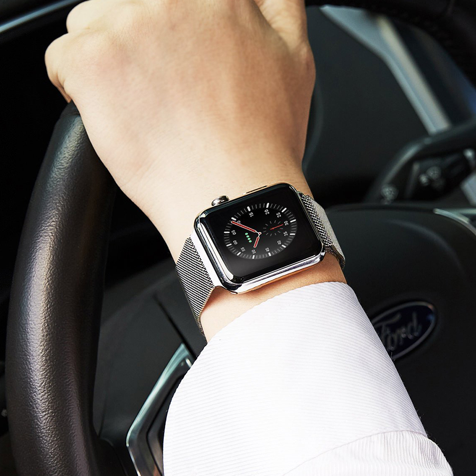 uk availability d0d50 0c887 Silver Milanese Loop Stainless Steel Band - Apple Watch 42 / 44mm