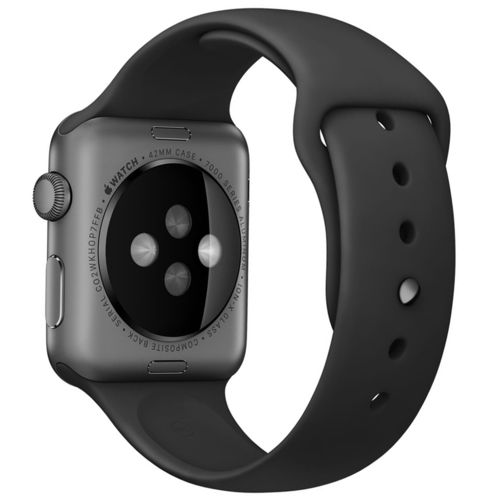 Rubber Sport Band with Pin & Tuck Closure for Apple Watch 42mm - Black