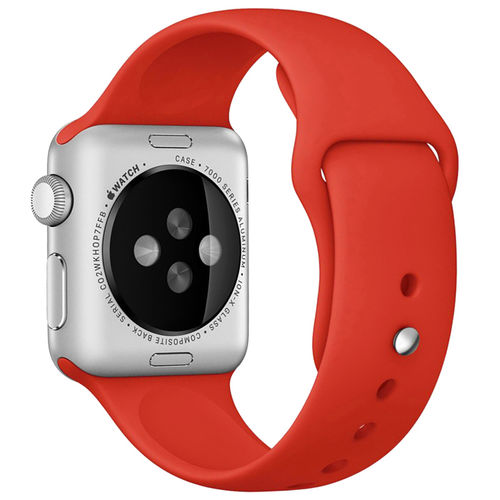 Rubber Sport Band with Pin & Tuck Closure for Apple Watch 42mm - Red