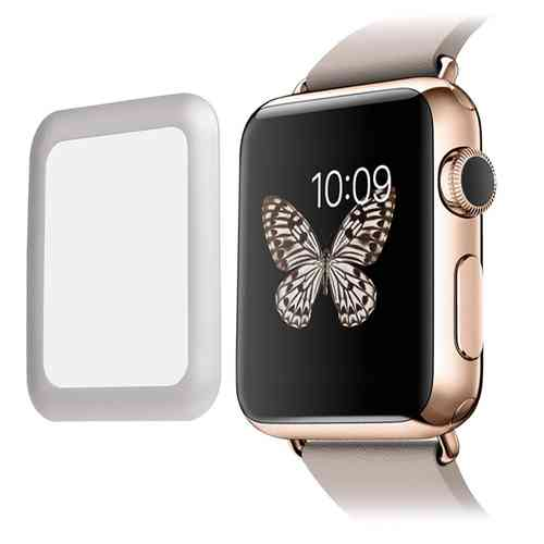 Full Tempered Glass Screen Protector Frame - Apple Watch 42mm - Silver