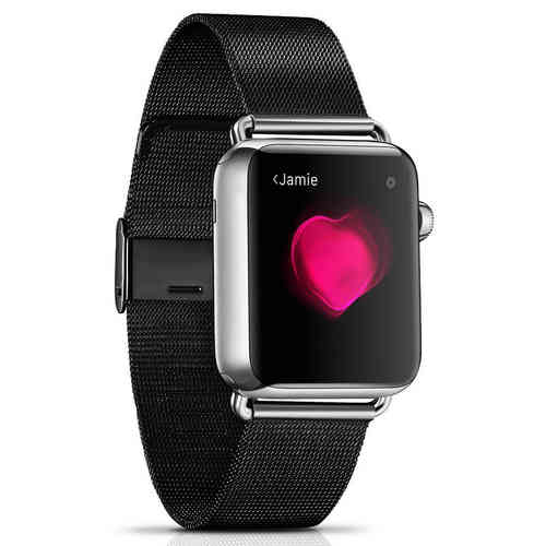 Milanese Stainless Steel Metal Band - Apple Watch 42 / 44mm - Black