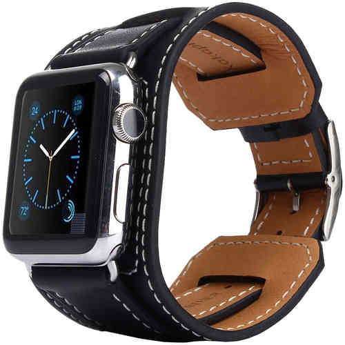 Kakapi Genuine Leather Cuff Bracelet Band for Apple Watch 42mm (Black)