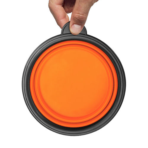 Collapsible Pet Dog & Cat Portable Travel Bowl - Orange