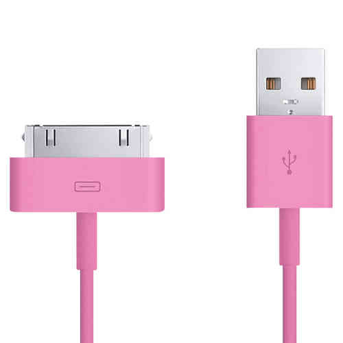 1m 30-pin to USB Data Charging Cable for iPhone & iPad - Rose Pink
