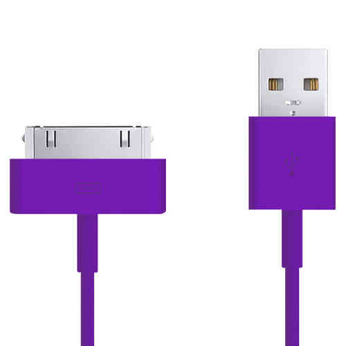 1m 30-pin to USB Data Charging Cable for iPhone & iPad - Purple