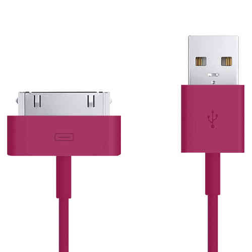 1m 30-pin to USB Data Charging Cable for iPhone & iPad - Dark Pink