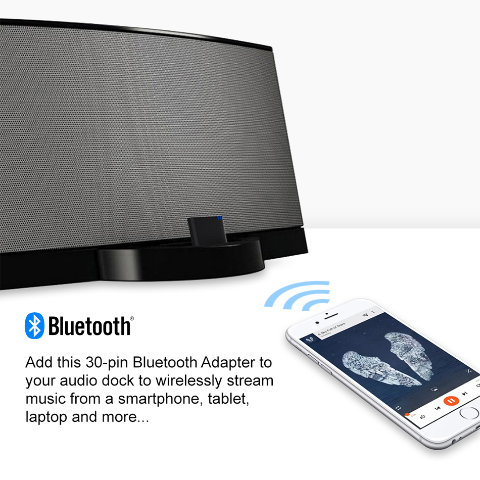30-Pin Bluetooth Audio Receiver Adapter For Dock / Car Stereo