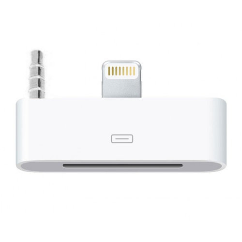 Lightning to 30-pin Audio Adapter Jack - iPhone 5s / 5c / SE - White