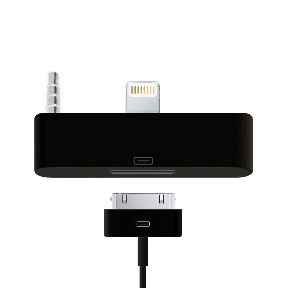 lightning to 30 pin audio adapter for iphone 6s black. Black Bedroom Furniture Sets. Home Design Ideas