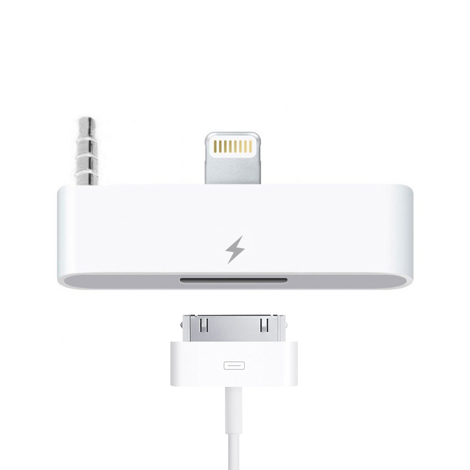 lightning to 30 pin audio adapter for iphone 6s white. Black Bedroom Furniture Sets. Home Design Ideas