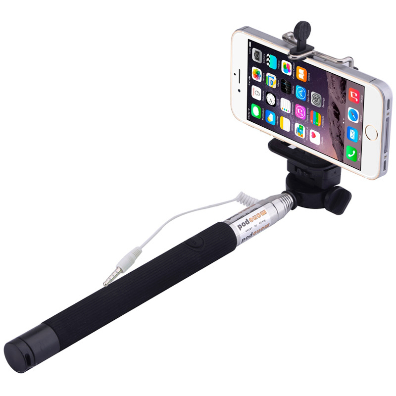 wired extendable selfie stick monopod holder 1m. Black Bedroom Furniture Sets. Home Design Ideas