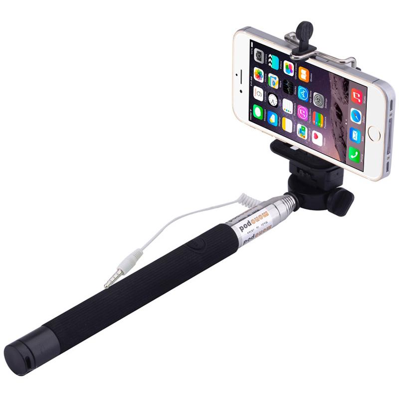 extendable selfie stick monopod holder headphone jack 1m. Black Bedroom Furniture Sets. Home Design Ideas