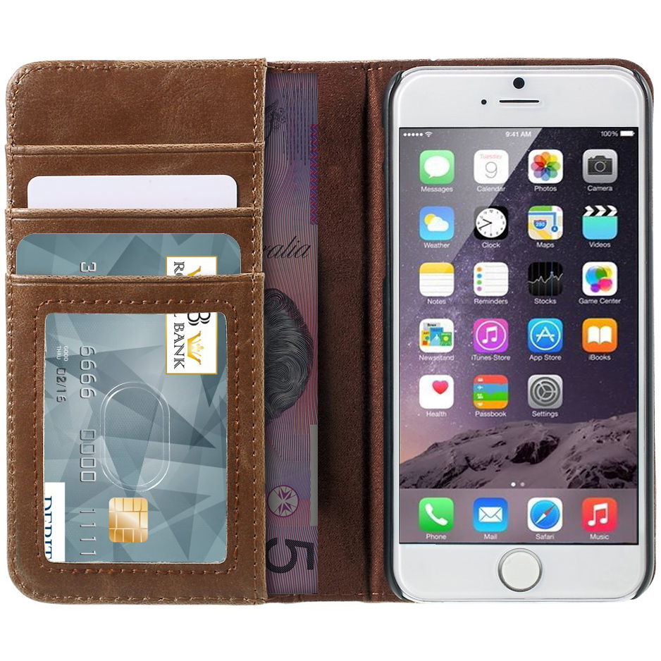 vintage book leather wallet case apple iphone 6s plus. Black Bedroom Furniture Sets. Home Design Ideas