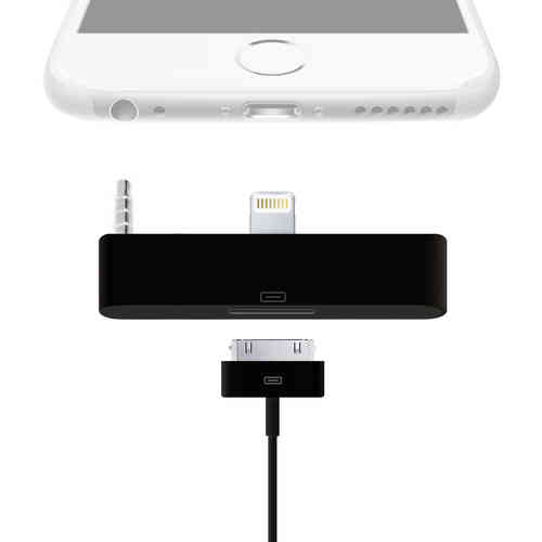 Lightning to 30-pin Audio Adapter for iPhone 6 Plus / 6s Plus - Black
