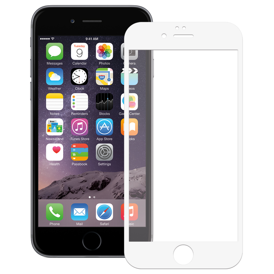Tempered Glass Screen Protector Frame - iPhone 6s Plus (White)