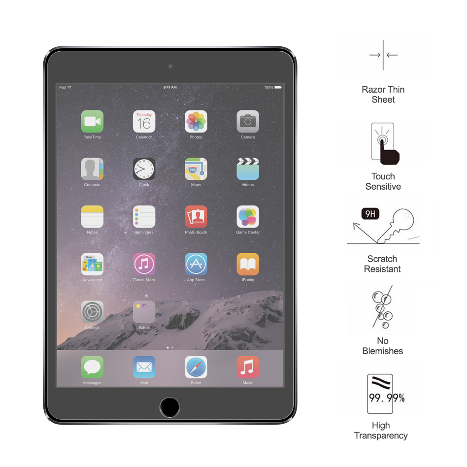 tempered glass screen protector apple ipad mini 3 2 1. Black Bedroom Furniture Sets. Home Design Ideas