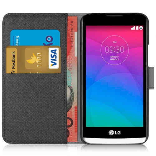 Leather Wallet Case & Card Holder with Cash Pouch for LG Leon - Black