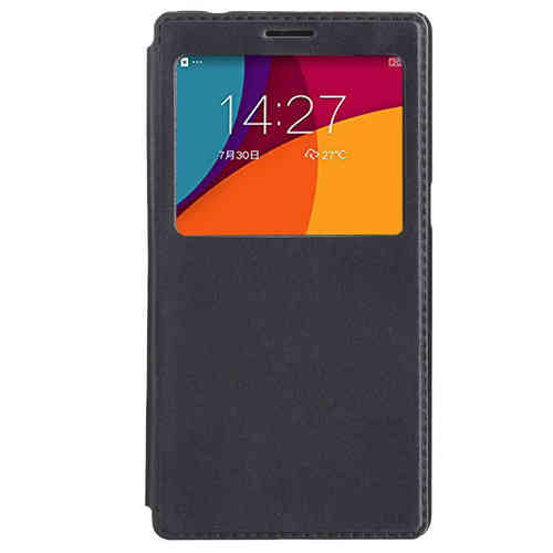 Window Display Leather Flip Case for Oppo R7 Plus - Black