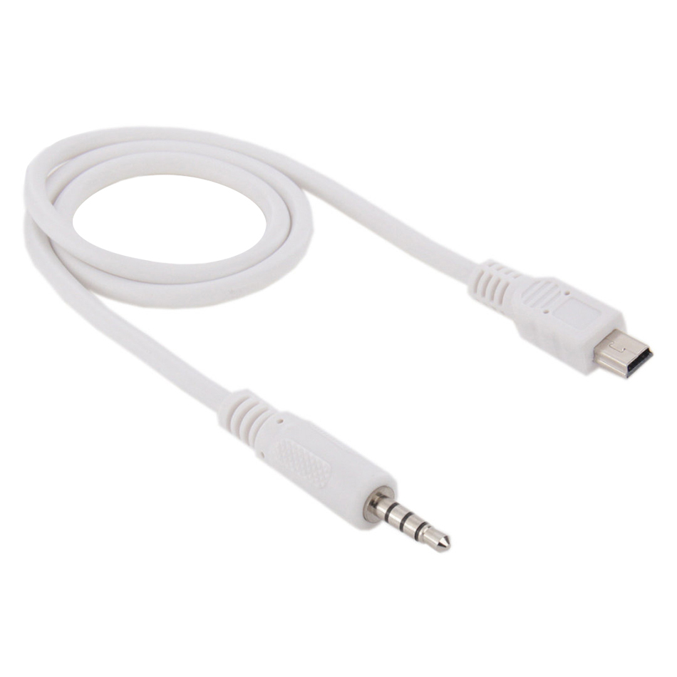 50cm Mini Usb Male To 3 5mm Male Aux Audio Cable White