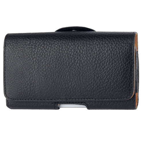 Belt Clip Leather Wallet Carry Case Pouch for Mobile Phones - Black