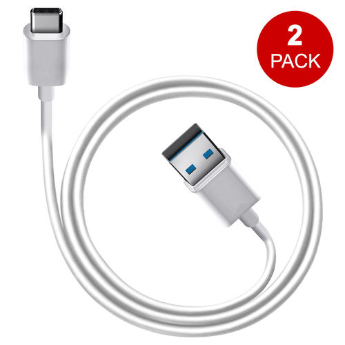 1m USB-C 3.1 (Type-C) to USB 3.0 Charge & Sync Cable (2-Pack) - White