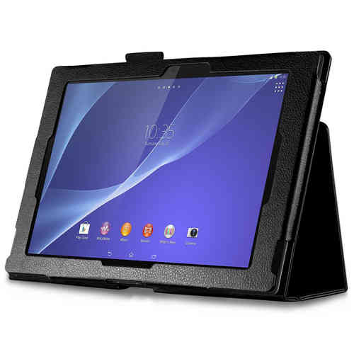 Textured Folio Leather Case & Stand for Sony Xperia Tablet Z - Black