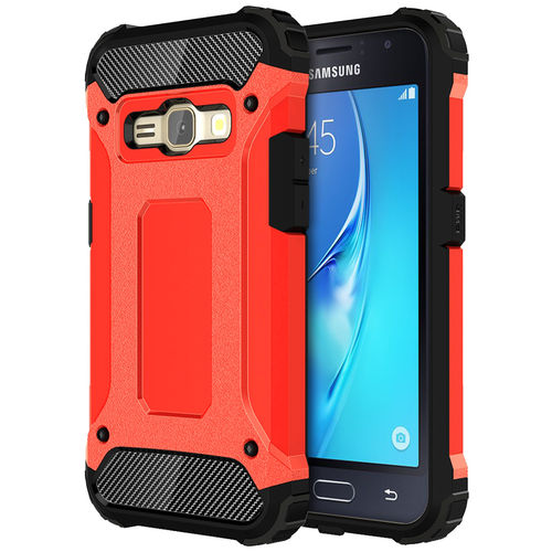 Military Defender Shockproof Case for Samsung Galaxy J1 (2016) - Red