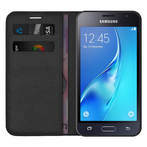 Leather Wallet Case & Card Holder for Samsung Galaxy J1 (2016) - Black