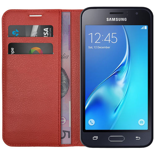Leather Wallet Case & Card Holder for Samsung Galaxy J1 (2016) - Red