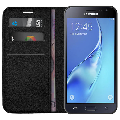 Leather Wallet & Card Holder Case for Samsung Galaxy J3 (2016) - Black