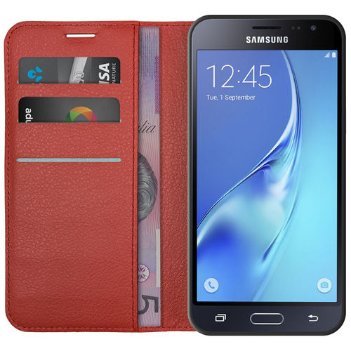 Leather Wallet & Card Holder Case for Samsung Galaxy J3 (2016) - Red