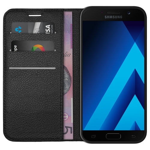 Leather Wallet Case & Card Holder for Samsung Galaxy A5 (2017) - Black