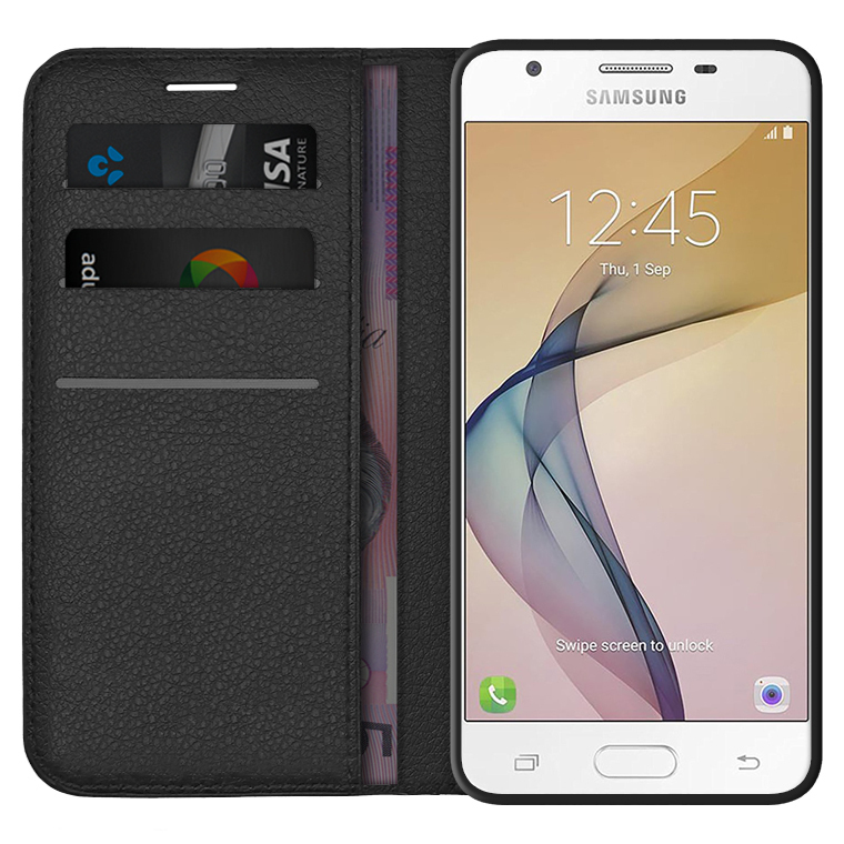 quite nice 9e1d4 b74d1 Leather Wallet Case & Card Holder for Samsung Galaxy J5 Prime - Black
