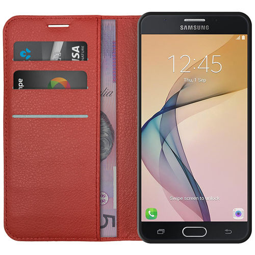 Leather Wallet Case & Card Holder for Samsung Galaxy J7 Prime - Red