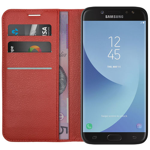 Leather Wallet & Card Holder Case for Samsung Galaxy J7 Pro - Red