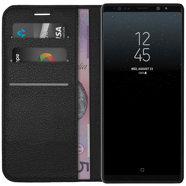 promo code bbde9 59239 Leather Wallet Case for Samsung Galaxy Note 8 (Black)