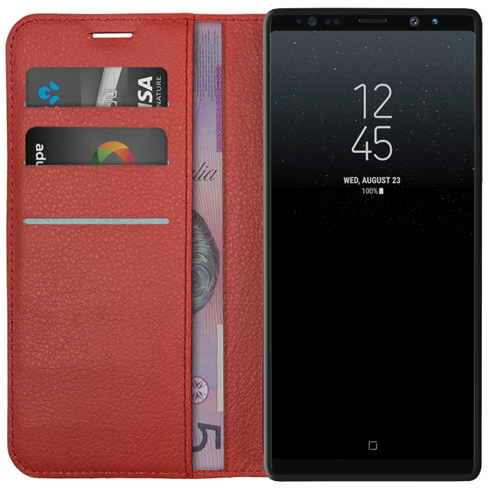reputable site b6222 b6352 Leather Wallet Case for Samsung Galaxy Note 8 (Red)