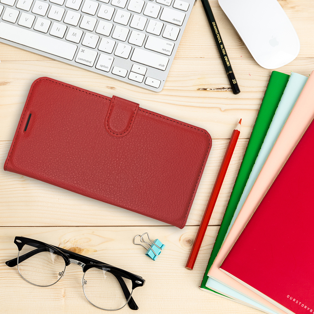 Leather Wallet Case for Samsung Galaxy Note 8 (Red)