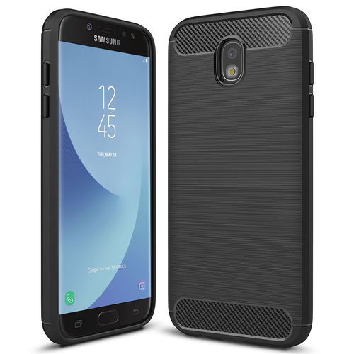 Flexi Carbon Fibre Tough Case for Samsung Galaxy J7 Pro - Black