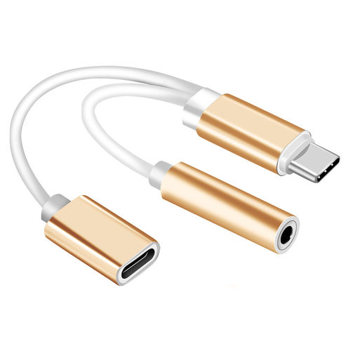 USB-C (Type-C) to 3.5mm Headphone Audio Adapter Charging Cable - Gold