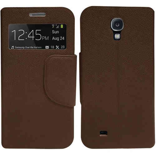 Sonivo Sneak Peek Window Flip Case for Samsung Galaxy S4 - Brown