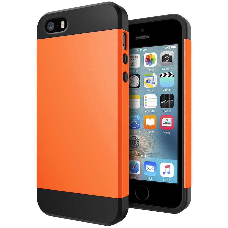 san francisco defb1 80667 Slim Armour Shockproof Case for Apple iPhone SE / 5 / 5s - Orange