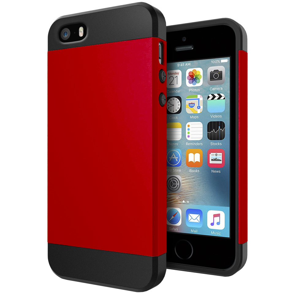 slim armour shockproof case apple iphone se 5s red