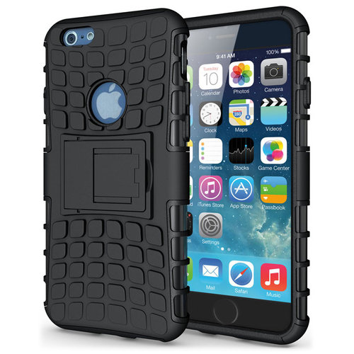 Dual Layer Rugged Tough Shockproof Case for Apple iPhone 6s - Black