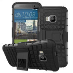 Dual Layer Rugged Tough Shockproof Case for HTC One M9 - Black