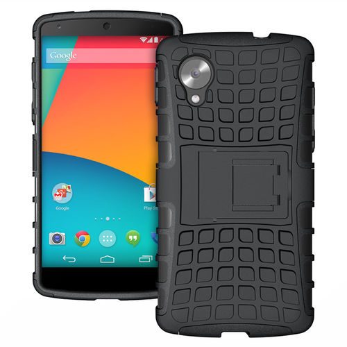 Dual Layer Rugged Tough Shockproof Case for Google Nexus 5 - Black