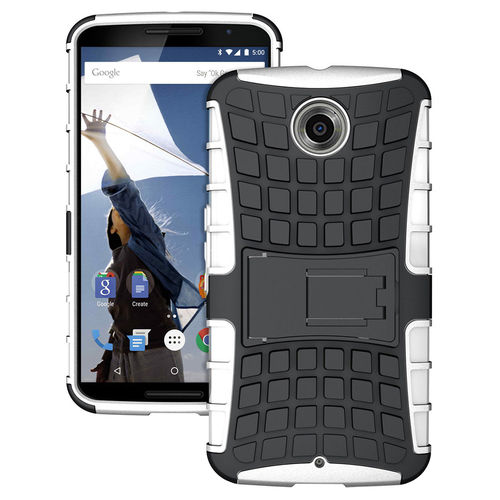 Dual Layer Rugged Tough Shockproof Case for Google Nexus 6 - White